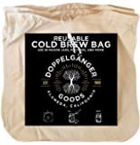 (2-Pack, Large 12in x 12in) Organic Cotton Cold Brew Coffee Bag - Designed in California - Reusable Coffee Filter with…