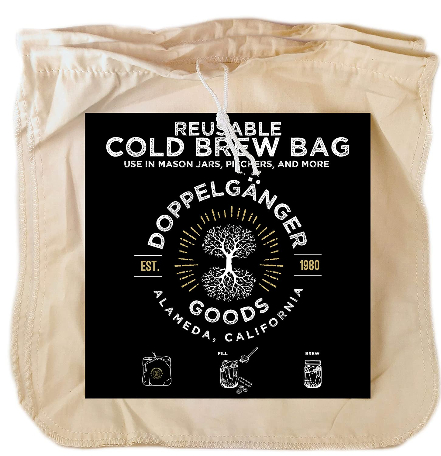 (2 Pack) Organic Cotton Cold Brew Coffee Bag - Designed in California - Extra Large 12 inch x 12 inch Reusable Filter Bags with EasyOpen Drawstring to Make Cold Brew in Pitchers or Mason Jars