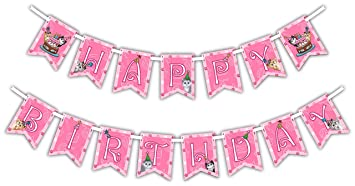 Kitty Cat Pink Kitten Happy Birthday Party Banner Decoration Includes 23ft Ribbon
