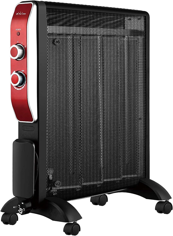 PURLINE MR2000B Calefactor Radiador Eléctrico Bajo consumo con Panel de Mica hasta 2000 W color negro con ruedas y termostato