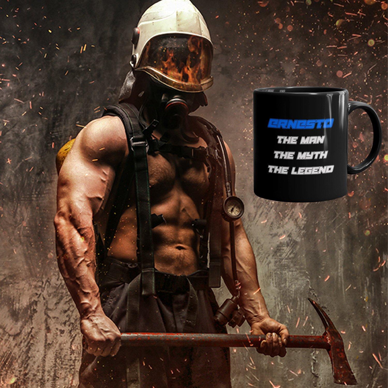 Ernesto Coffee Mug Tazas Negras Personalizadas con Nombres - The Man the Myth the Legend - Best Gifts Regalos for Men - 11 oz Black mug - Blue: Amazon.es: ...