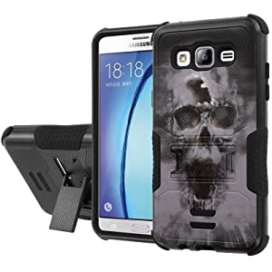 Galaxy [On5] Armor Case [NakedShield] [Black/Black] Urban Shockproof Defender [Kick Stand] - [Grey Skull] for Samsung Galaxy [On5]