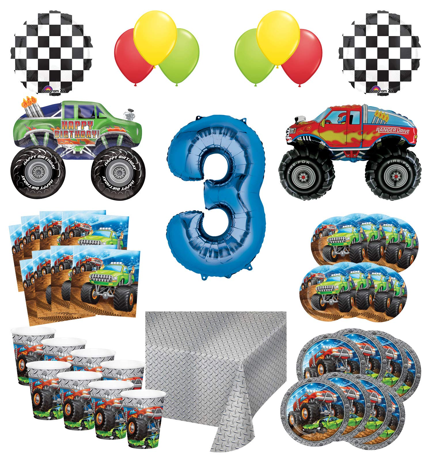 Mayflower Products Monster Truck Rally 3rd Birthday Party Supplies 8 Guest Decoration Kit with Green and Red Monster Truck Balloon Bouquet