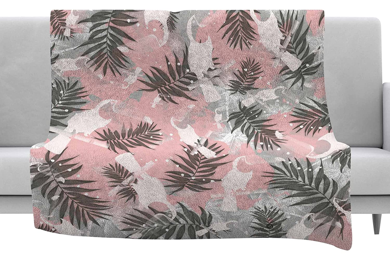 40 x 30 Fleece Blanket Kess InHouse Mmartabc Toucan in The Jungle Pink Gray Watercolor Throw