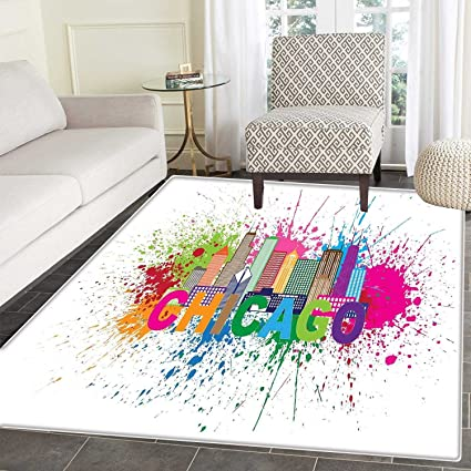 Lovely Chicago Skyline Floor Mat Pattern Splash Of Colorful Paint Background With  Text Of Chicago And Cityscape