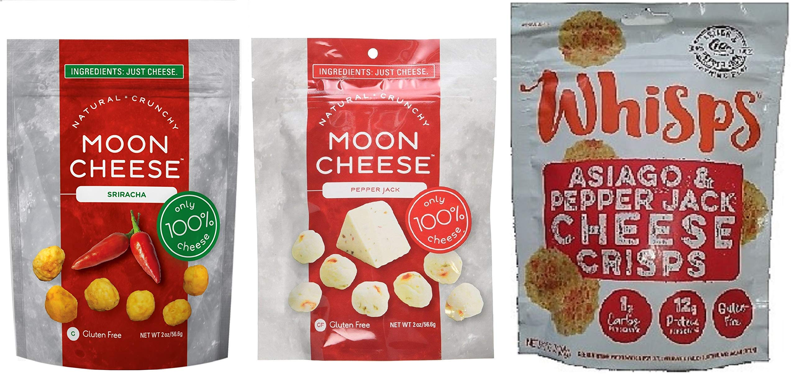 3 Pack Spicy Cheese Snack Bundle: Moon Cheese Pepper Jack and Sriracha + Cello Whisps Asiago/Pepper Jack; Low Carb, Keto Friendly, 100% Natural Cheese