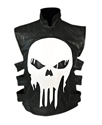 Punisher SKULL BLACK LEATHER VEST