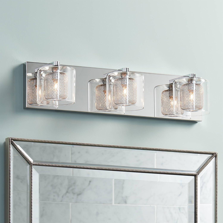 Zatara Modern Wall Light Chrome Hardwired 20 1 2 Wide 3-Light Fixture Clear Glass Metallic Mesh for Bathroom Vanity – Possini Euro Design