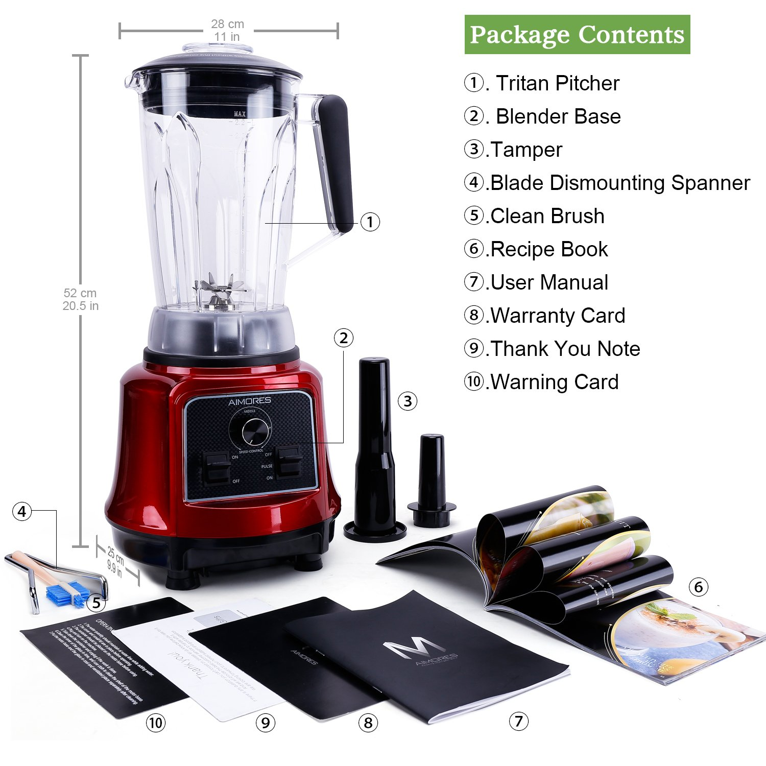 Commercial Blender Aimores for Smoothie   750z. High Speed Juicer, Ice Cream Maker   Optimized 6 Sharp Blades   Auto Clean & Simple Control   w/ Recipe & Tamper   ETL & FDA Certified (Red) by ISUN (Image #5)