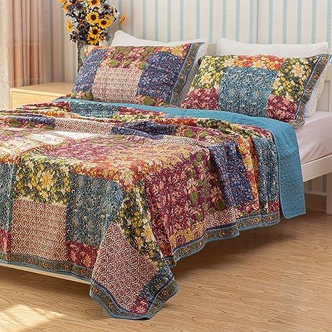 Unimall Colcha 240 x 260cm, de 100% de Algodon Colcha para cama 150 o 180, como sabana o manta