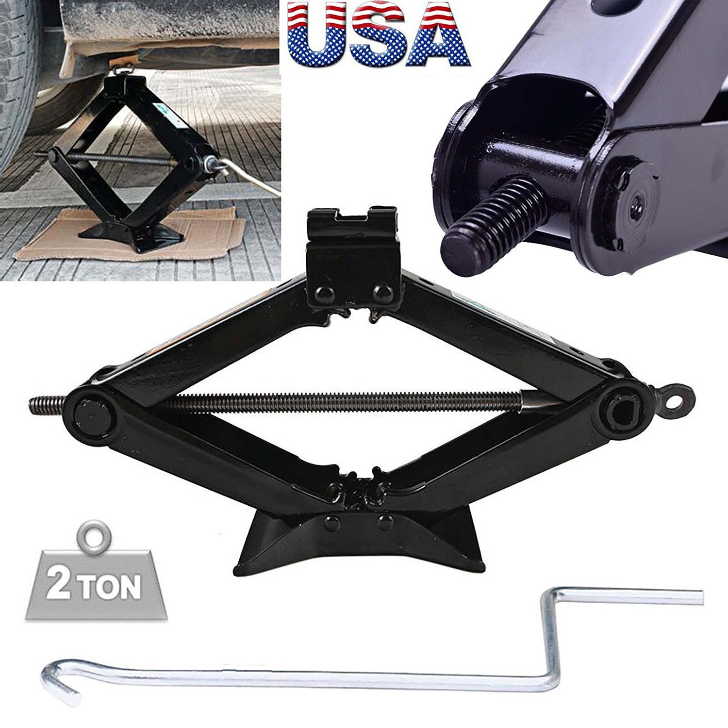 Steel Scissor Jack Black Rustproof 2 Ton Capacity/385mm Max.Height with Chromed Speed Crank Handle Tire Changing Tools for Car Van Truck Vehicles, 1PCs US Ship