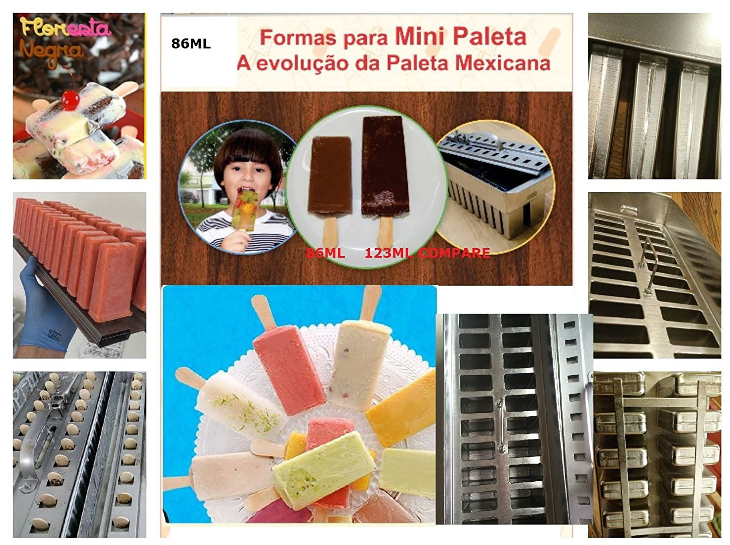 Amazon.com: Commercial Stainless Steel Popsicle Mold ice cream Mini Paleta 86ml 26mold Tray Type: Kitchen & Dining