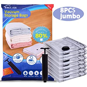"NICE STA 8 Jumbo Clothing Storage Bags Vacuum (40""x30"") Space Sealer Bags Saver for Comforters Clothes Blankets Travel & Home 80% More Space Saver Hand Pump Included"