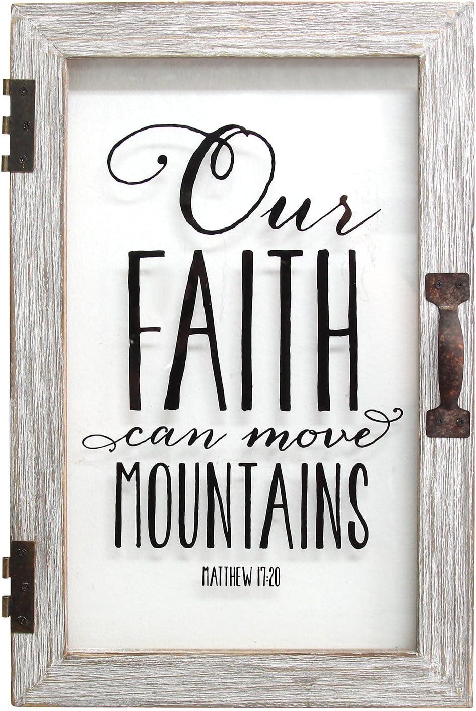 Stratton Home Decor Our Faith Can Move Mountains Printed Glass Decor, 12.00 W X 1.50 D X 18.00 H, Distressed White, Black