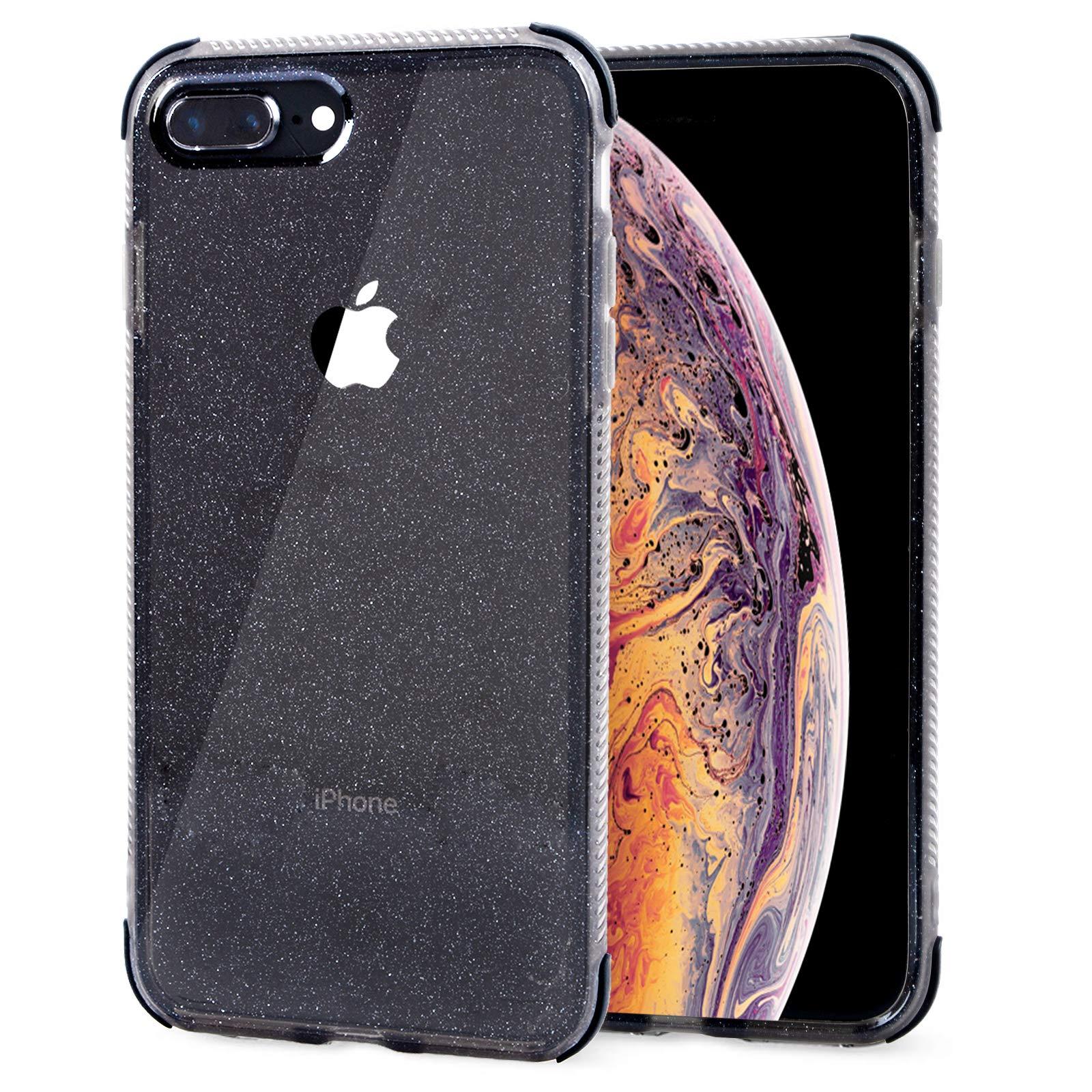 Voilamart iPhone 7 Plus Case, iPhone 8 Plus Case Bling Shiny Cute Pattern Design Sparkle Glitter Anti-Slick/Protective Case for iPhone 7/8 Plus 5.5 Inch, Black