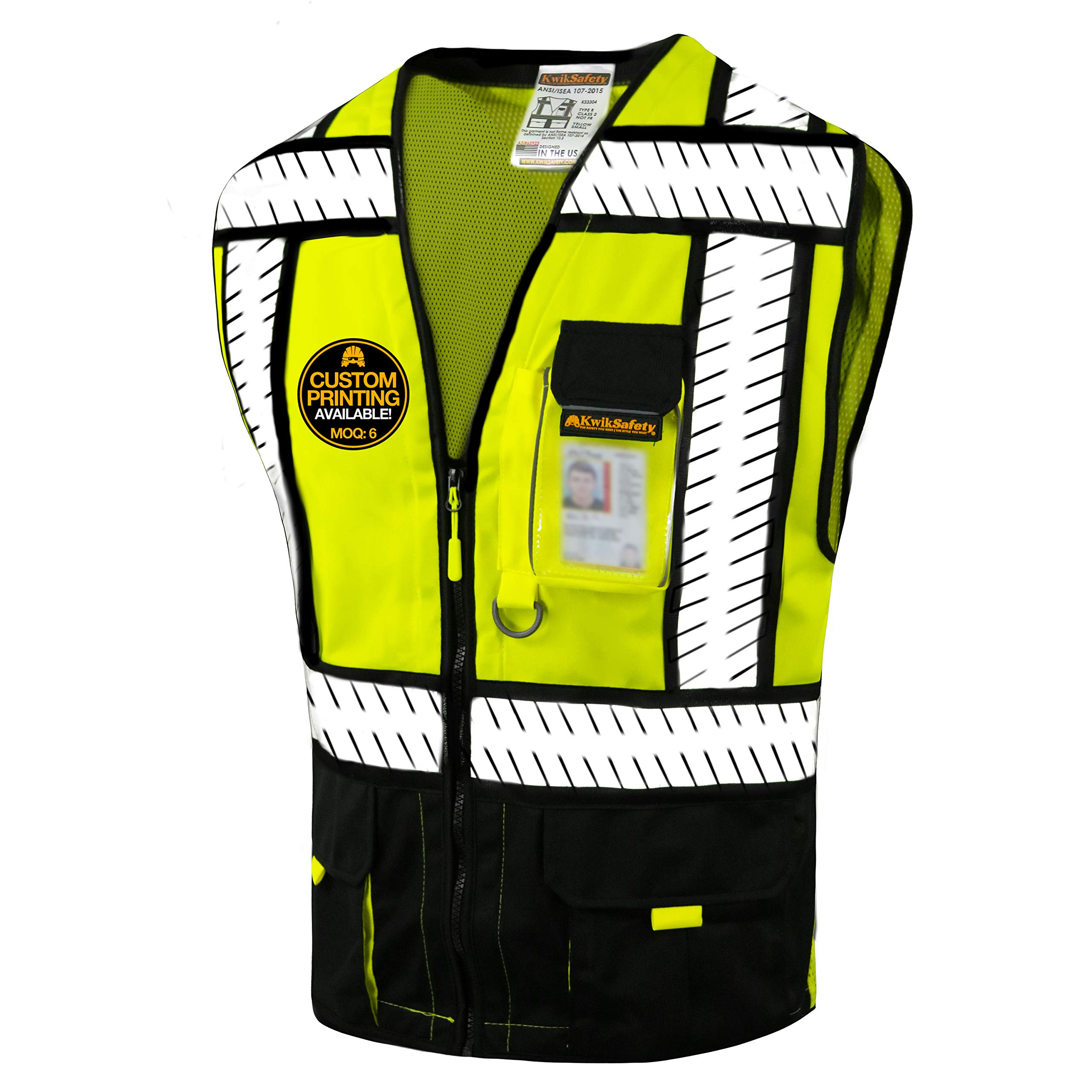 KwikSafety (Charlotte, NC) SPECIALIST (Multi-Use Pockets) Class 2 ANSI High Visibility Reflective Safety Vest Heavy Duty Solid/Mesh and with zipper HiVis Construction Surveyor Work Mens Black MEDIUM