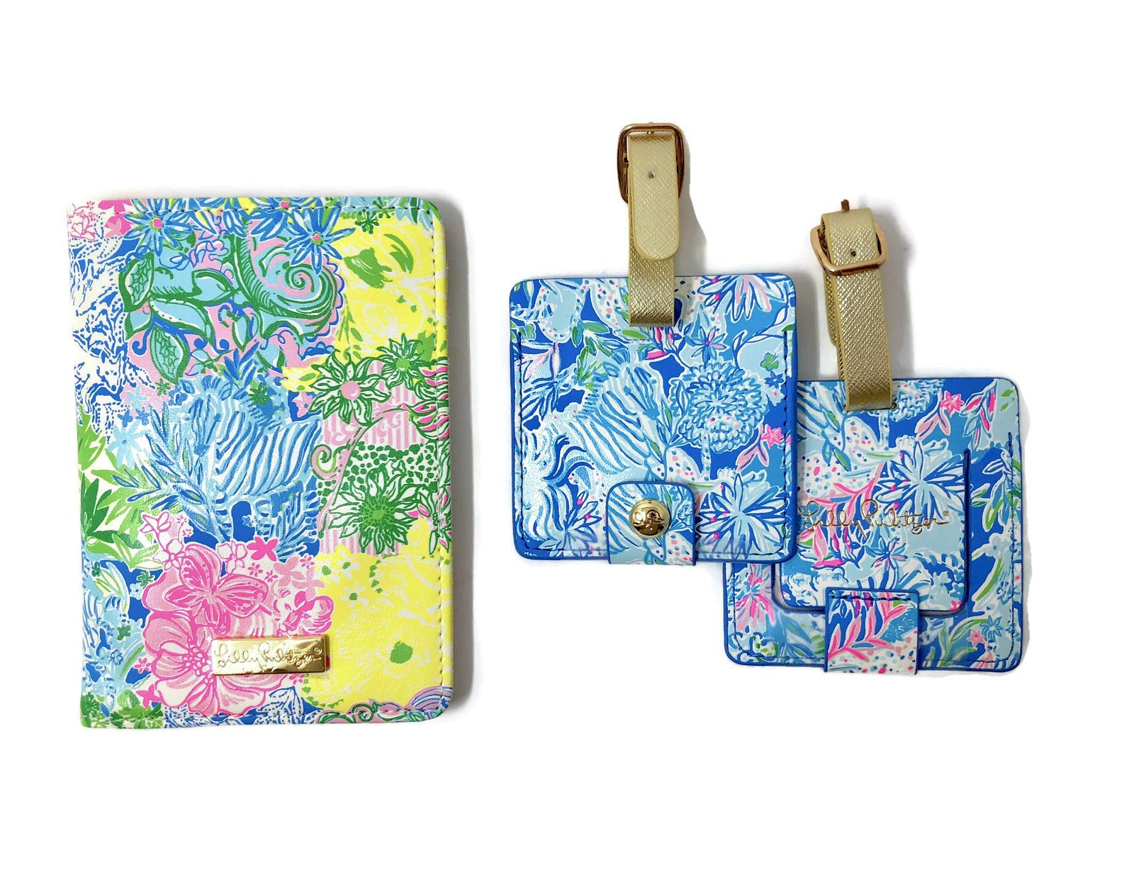 Lilly Pulitzer Travel Set, Leatherette Passport Cover/Holder/Wallet and 2 Luggage Tags, Cheek to Cheek by Lilly Pulitzer