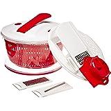 Top Vente KU6141 Essoreuse à Piston + 3 Lames Multifonctions Plastique Blanc/Rouge 24,5 x 17 x 24,5 cm
