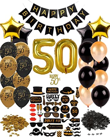 Dharma Creations 50th BIRTHDAY DECORATIONS GOLD BLACK COMPLETE PACKAGE PARTY SUPPLIES FOR MEN WOMEN INCLUDES