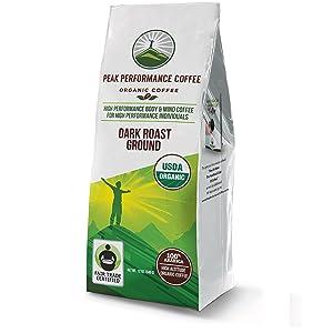 Peak Performance High Altitude Organic Coffee. High Performance Body and Mind Coffee for High Performance Individuals. Fair Trade Beans Full of Antioxidants. USDA Organic Dark Roast Ground Coffee