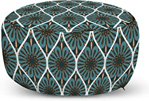 Lunarable Orient Ottoman Pouf, Floral Ornaments Circular Hipster Motifs Pattern, Decorative Soft Foot Rest with Removable Cover Living Room and Bedroom, Blue Cocoa