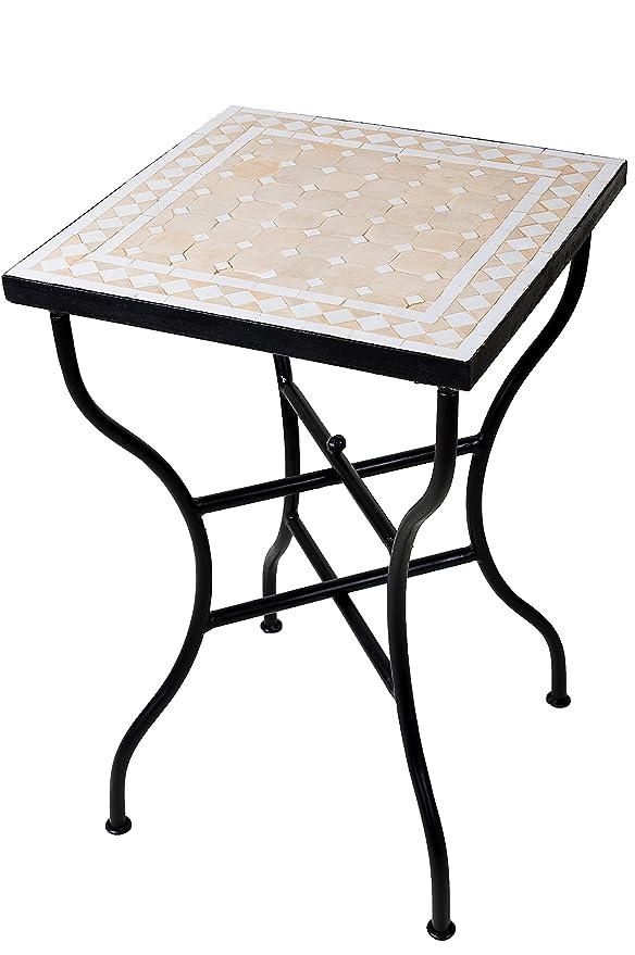 mosaico mesa auxiliar mesa inspiración natural/blanco, 50 x 50 cm ...