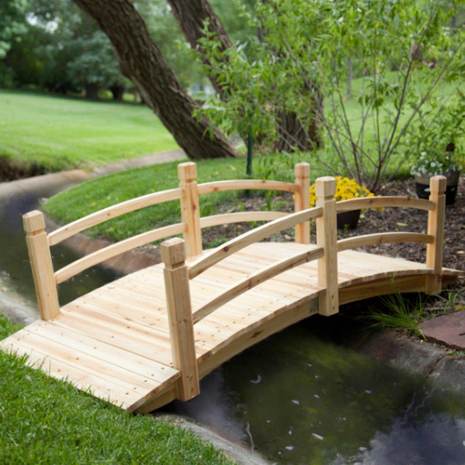 Natural Wood Finish 72'' Garden Bridge Outdoor Yard Lawn Landscaping Decor