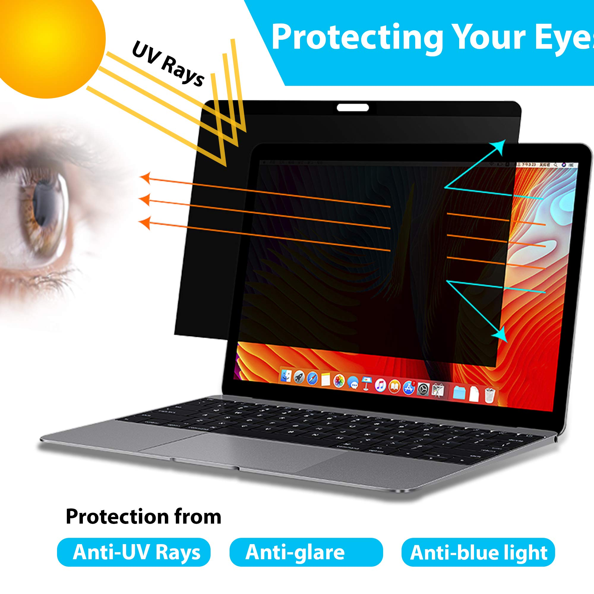 ADVTECH 2nd Gen Magnetic Privacy Screen Filter Compatible for Latest MacBook Pro 13'' Touch Bar (Late 2016) and MacAir (2018) No Stickers Required [Anti-UV Rays] Anti-Glare [Screen Protection] No Leak by ADVTECH (Image #4)
