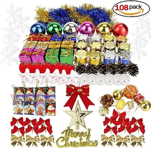 Adornos navidad Set, 108 PCS Decoración de Navidad colgante ...