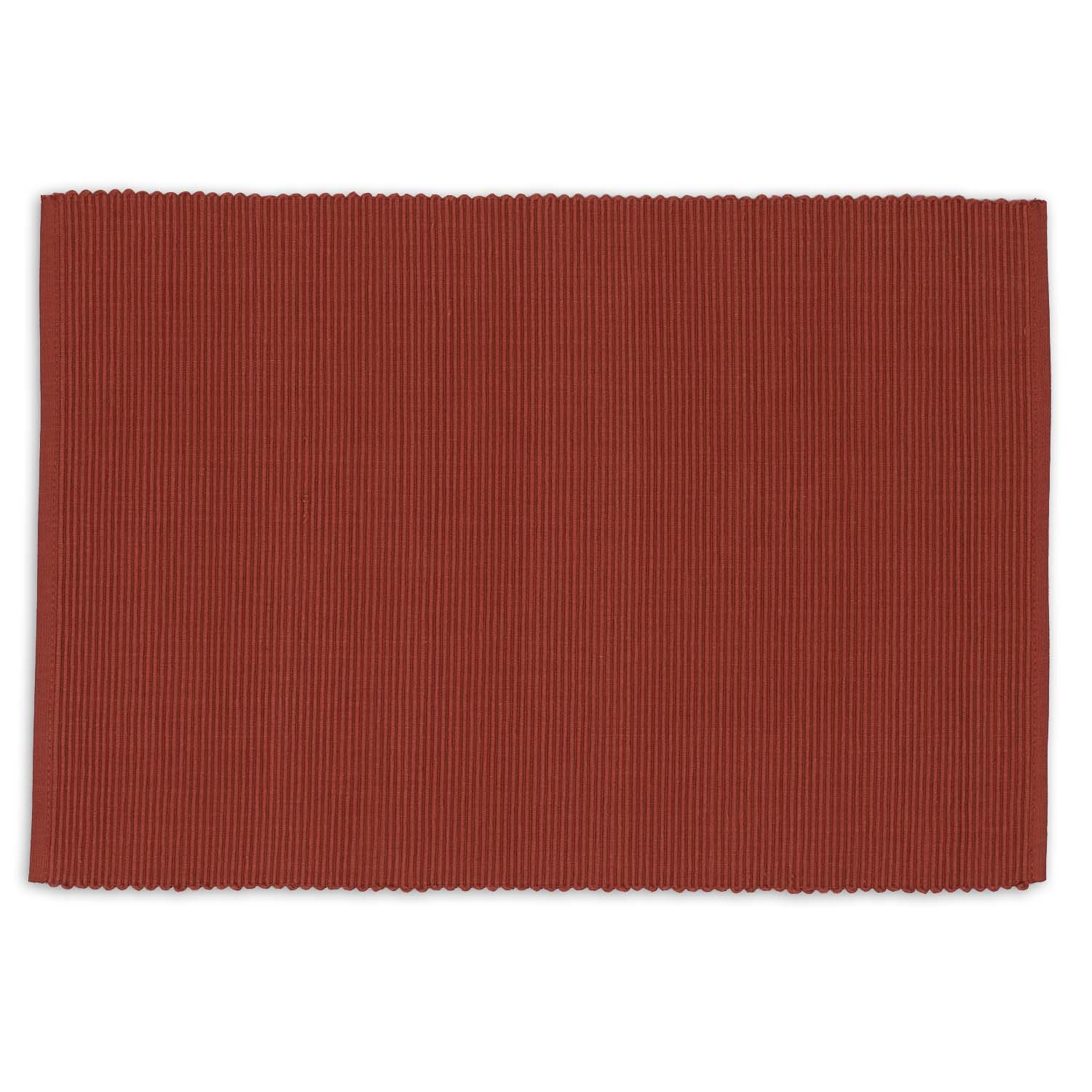 DII Washable Ribbed Cotton Placemat, Set of 6, Clay Red - Perfect for Fall, Dinner Parties, BBQs, Christmas, Weddings and Everyday Use