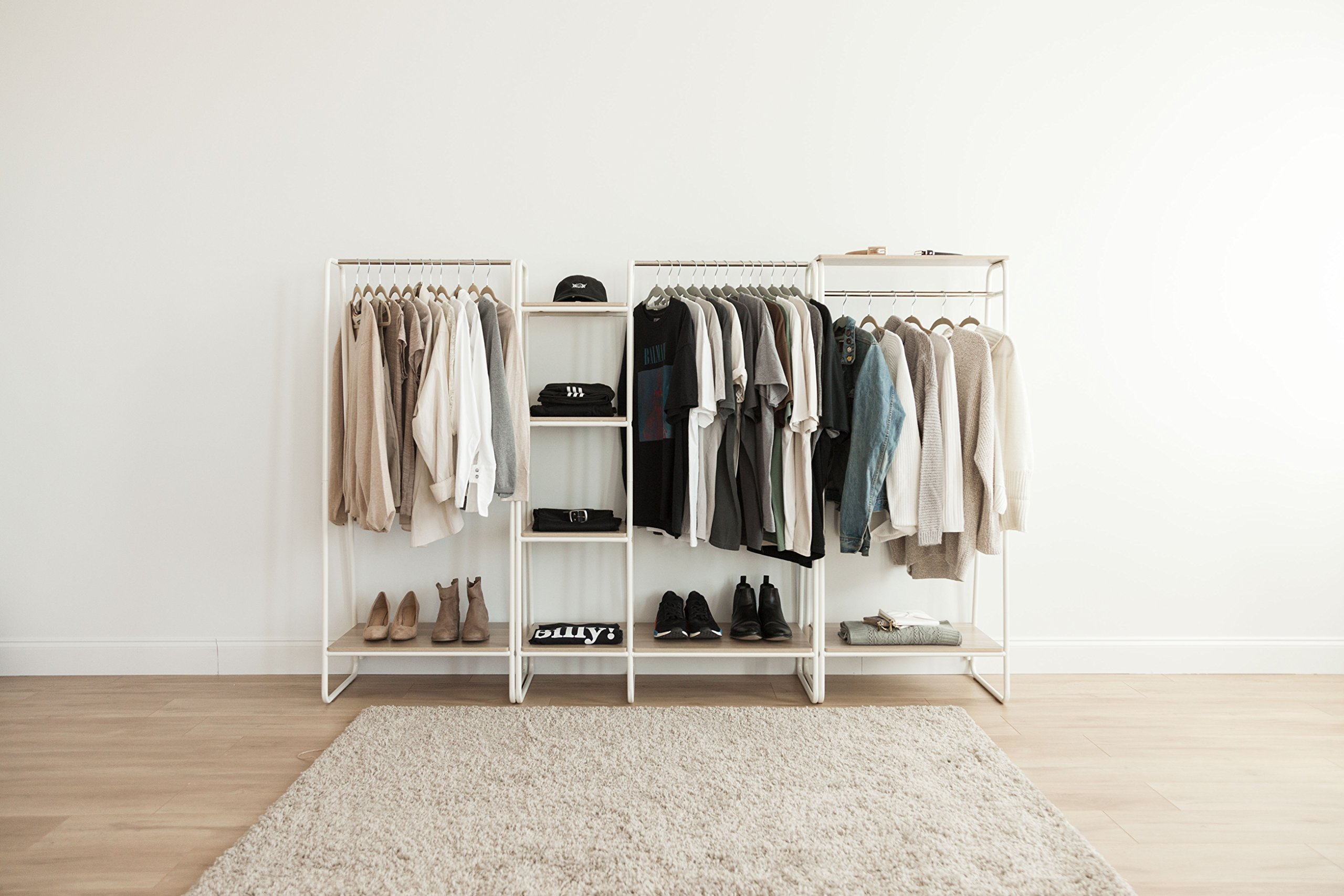 IRIS Metal Garment Rack with 2 Wood Shelves, White and Light Brown by IRIS USA, Inc. (Image #6)