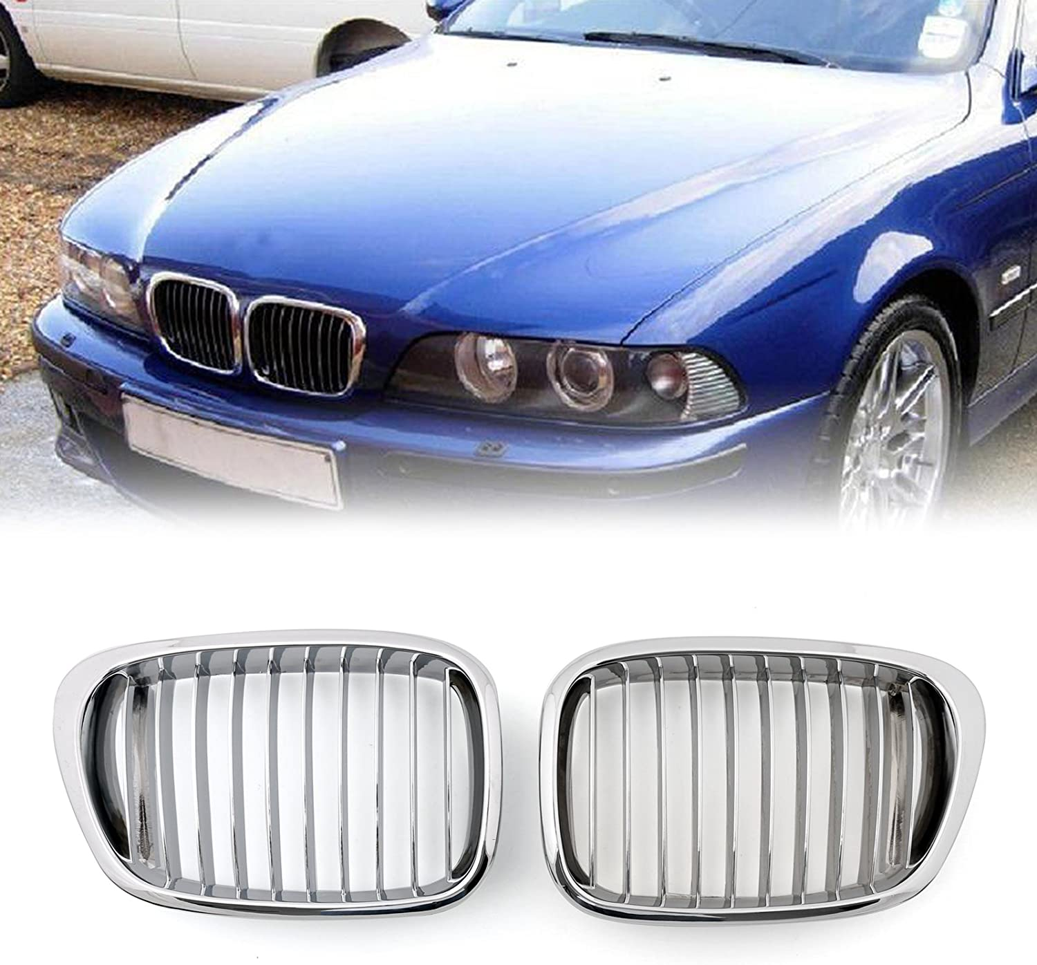 Artudatech Car Front Grill 1 Pair Mesh Double Grille Front Kidney Bumper Grilles Front Fence Grill for B M W E39 5 Series 1995-2003