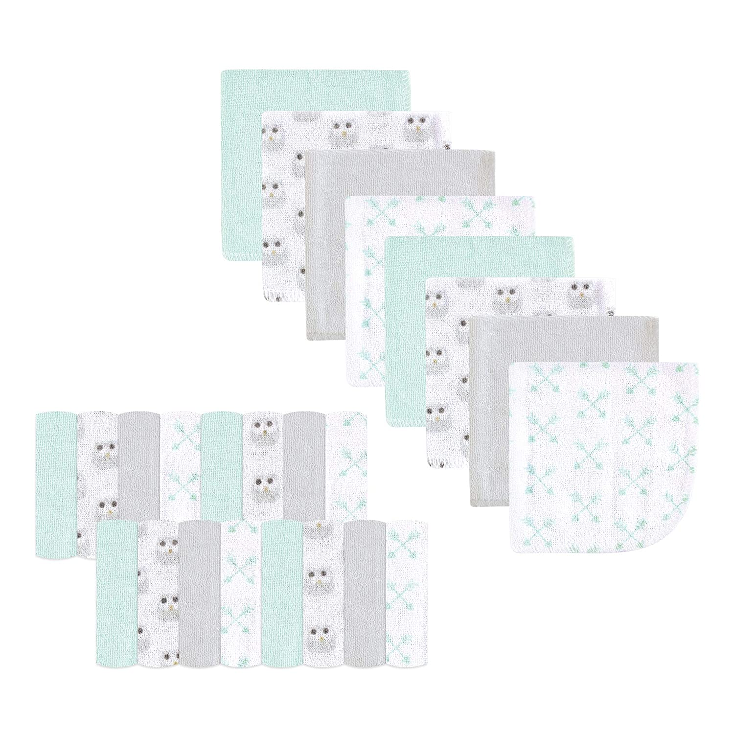 Luvable Friends Washcloths, Gray Owl, One Size, 24 Count BabyVision Inc. Children' s Apparel 05951