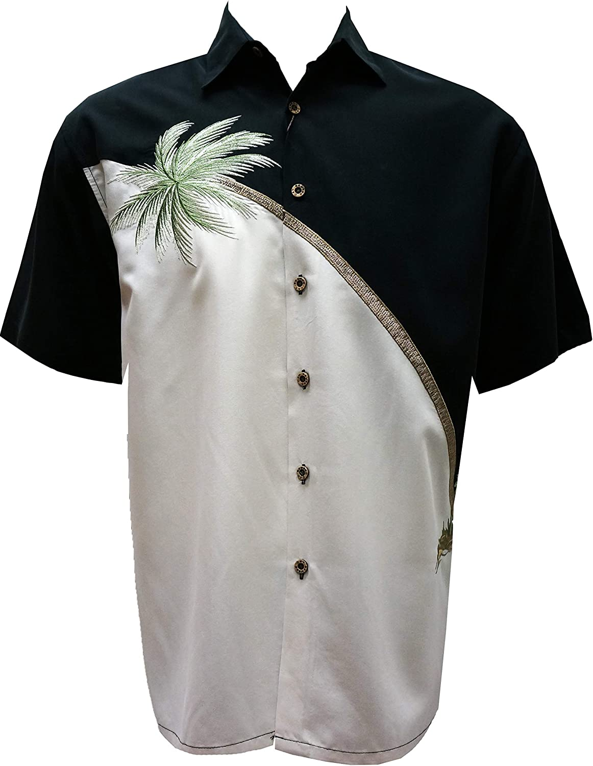 Bamboo Cay Mens Short Sleeve Hurricane Palm Casual Embroidered Woven Shirt