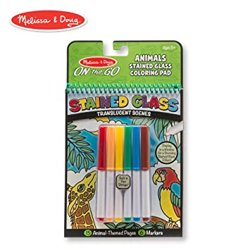 Melissa Doug On The Go Stained Glass Coloring Pad Animals