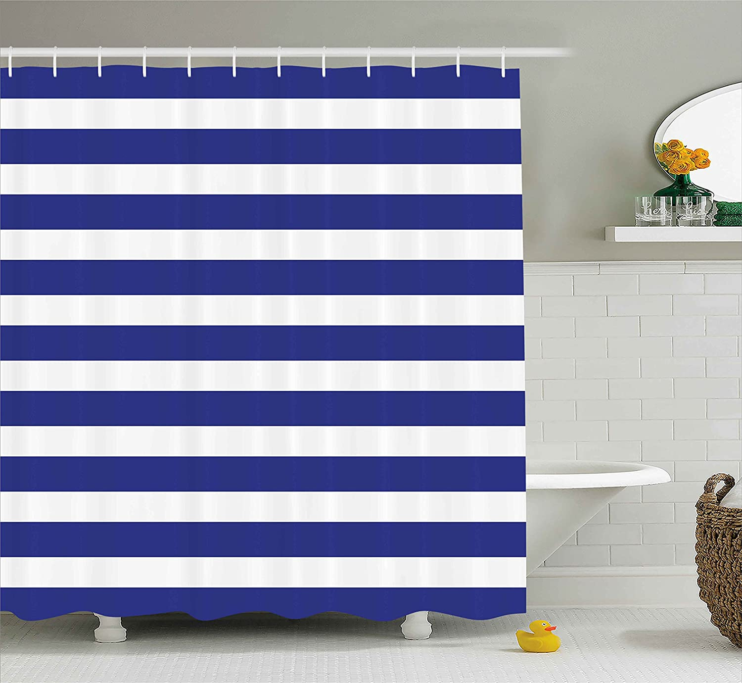 Ambesonne Striped Shower Curtain Nautical Marine Style Navy Blue And White Sailor Theme Geometric Pattern Art Print Fabric Bathroom Decor Set With Hooks