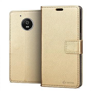 RIFFUE Funda Motorola Moto G5, Carcasa Libro Suave Delgada ...