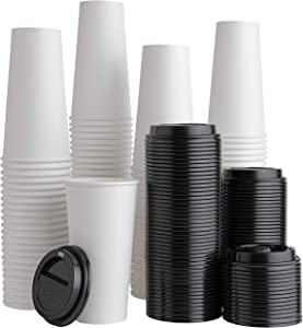 [200 Pack With lids] 20 ounce Paper Hot Cups Disposable Coffee Cups With Lids for Espresso, Cold, or Hot Drinks, Tea, Coffee, Hot choclate