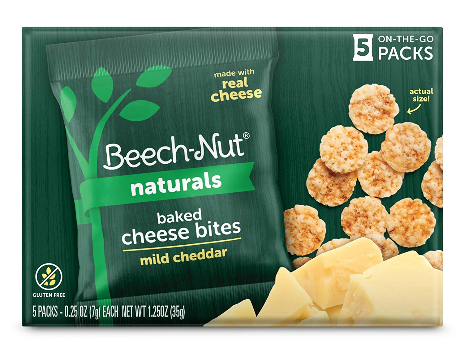 Beech-Nut Naturals Mild Cheddar Baked Cheese Bites Toddler Snacks, Made with Real Cheese, Gluten Free (Pack of 6 boxes, 5 count each)