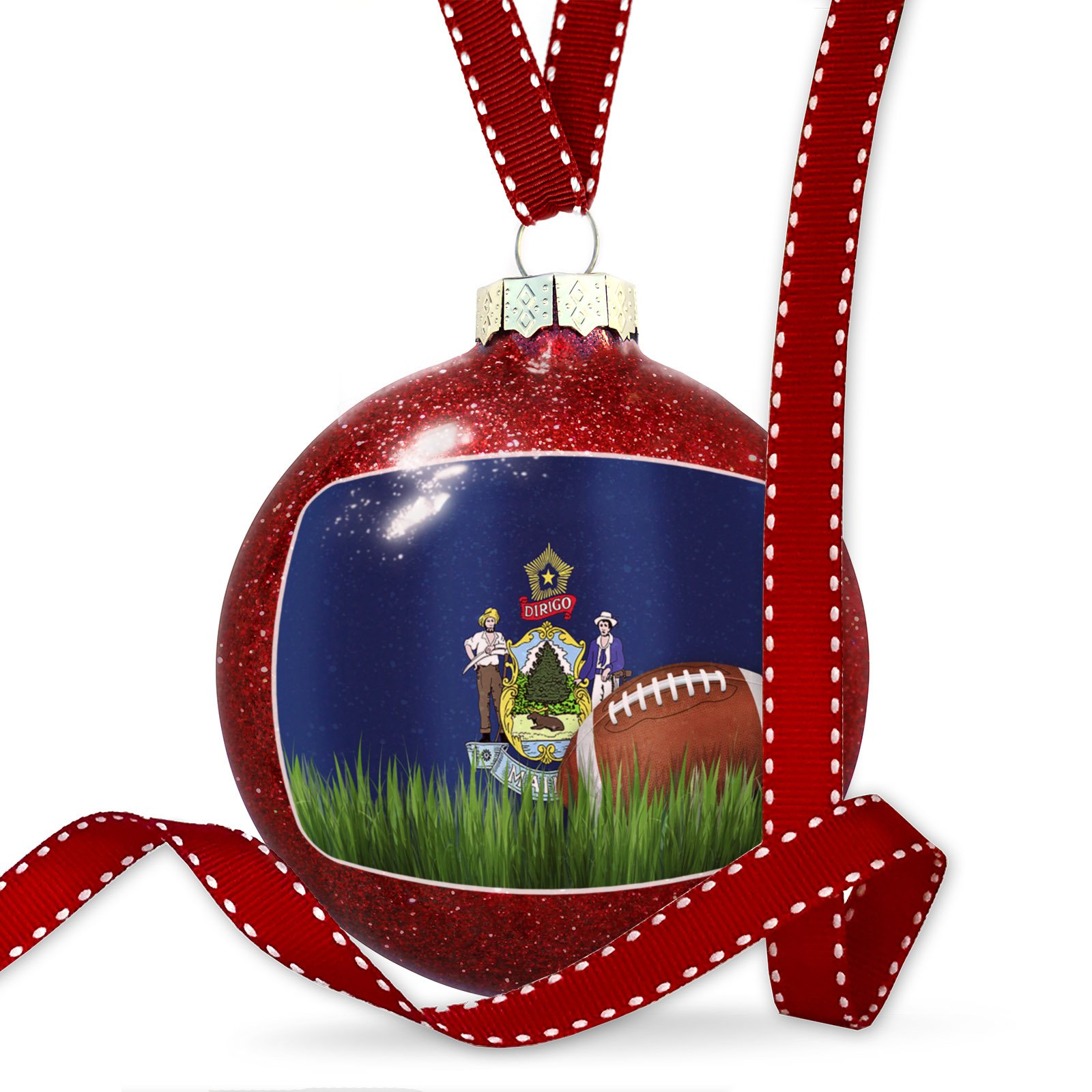 Christmas Decoration Football with Flag Maine region America (USA) Ornament