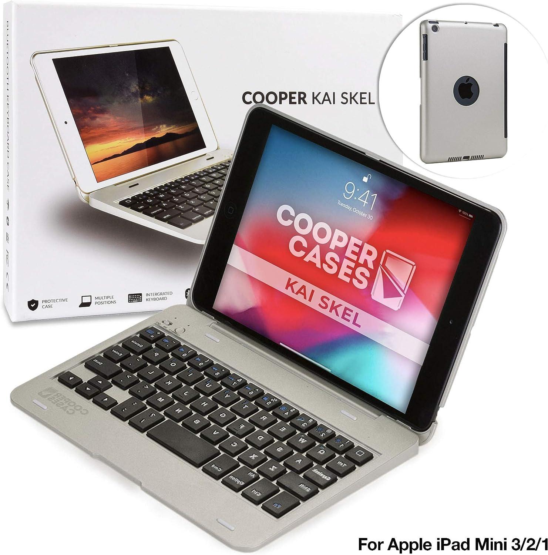 Cooper Kai SKEL P1 [Bluetooth Wireless Keyboard] Case for iPad Mini 1 2 3   Portable Laptop MacBook Clamshell Case, 13 Shortcut Function Keys (Silver)