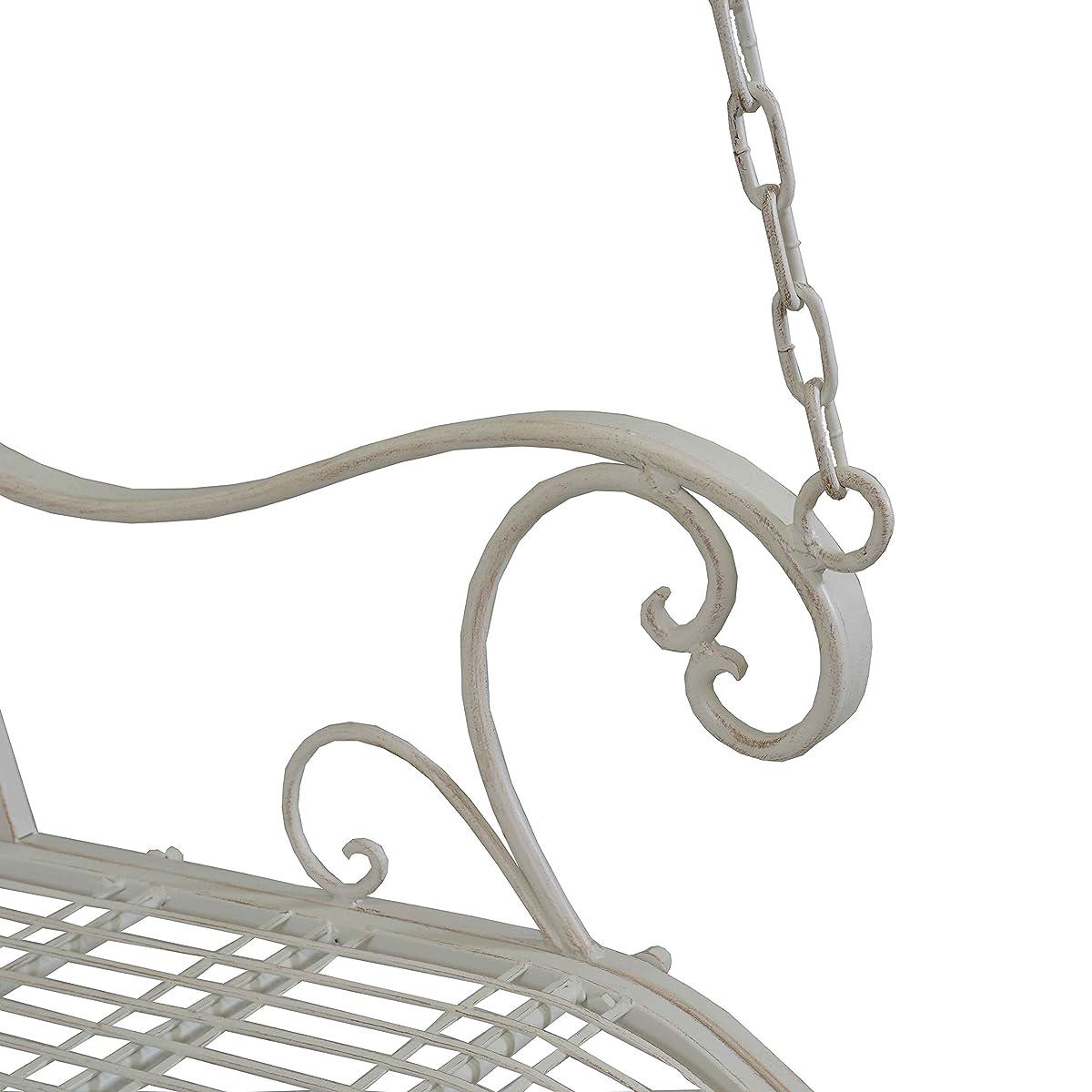 Titan Outdoor Antique Metal Porch Swing Bench Patio Garden Deck White Color