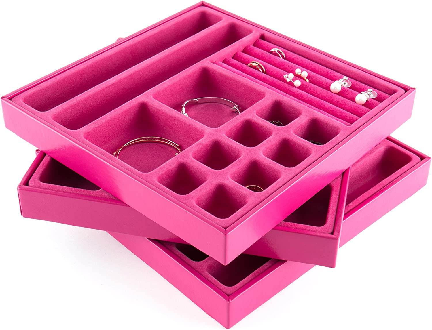 JackCubeDesign Stackable Leather Jewelry Tray Earring Necklace Bracelet Ring Organizer Display Storage Box Set of 3, Pink, 10.3 X 10.3 X 1.3 inches – MK337ABC