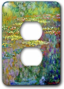 3dRose lsp_155656_6 Water Lilies by Impressionist Artist Claude Monet Waterlilies on Lake Famous Nature Impressionism Light Switch Cover