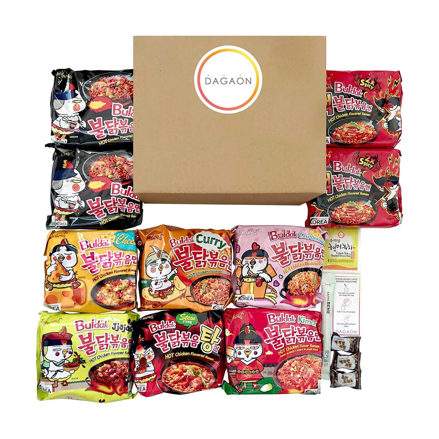 Dagaon Spicy Chicken Ramen Samyang Buldak Noodle Variety Pack – 10 Combo Packs of 8 Different Flavors (2 Packs of Original and 2x Spicy. 1 Pack of Carbonara, Jjajang, Curry, Cheese, Kimchi and Stew Type). Great for Spicy Food Fans.