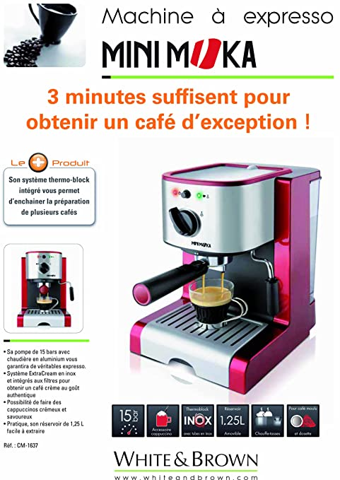 MiniMoka CM-1637 - Cafetera Express, 15 bares, manual: Amazon.es ...