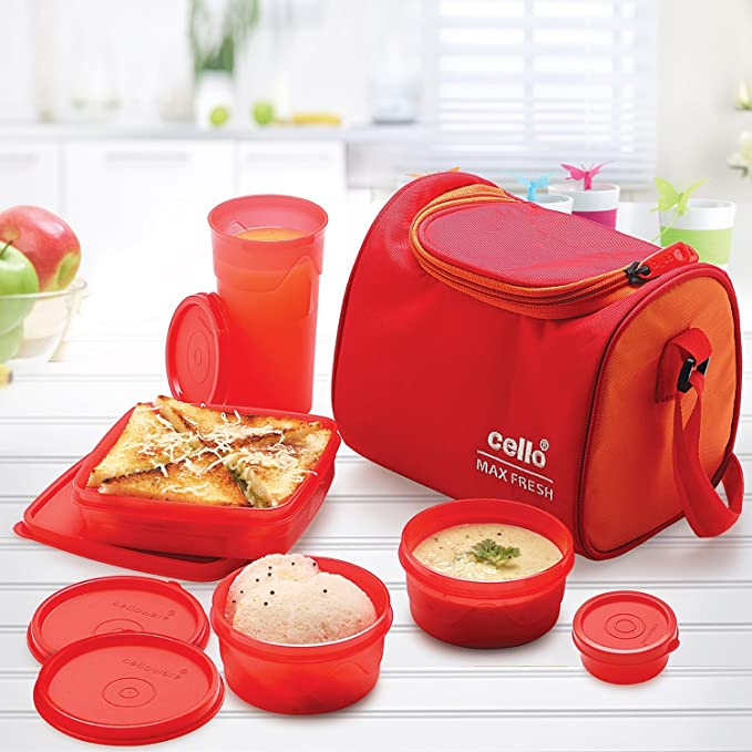 Cello Max Fresh Sling Lunch Box, 5 Containers, Orange Lunch Boxes