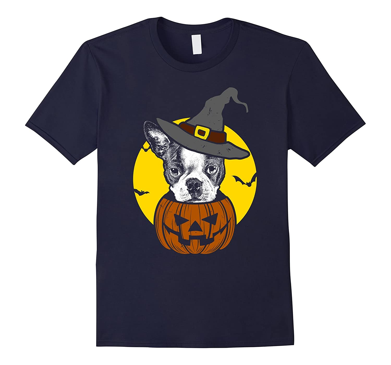 Boston Terrier Pumpkin Tee Scary Halloween T Shirt