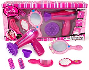 Liberty Imports Vogue Girls Beauty Salon Styling Fashion Pretend Play Set with Hairdryer, Mirror and Styling Accessories