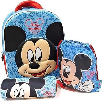 Mochila Mickey Mouse Disney 3D Infantil para niños (32 cms) + Estuche Mickey Mouse Portatodo + Bolsa Mickey Mouse para Merienda: Amazon.es: Equipaje